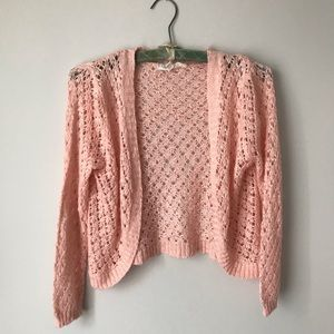 Cloud chaser pink cardigan cropped